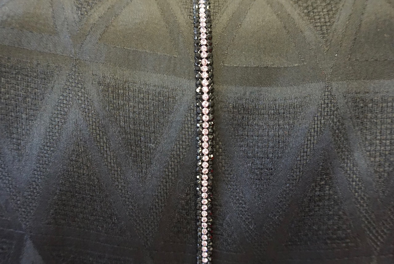 Swarovski Crystal Trim, Triple Row Black/Pink