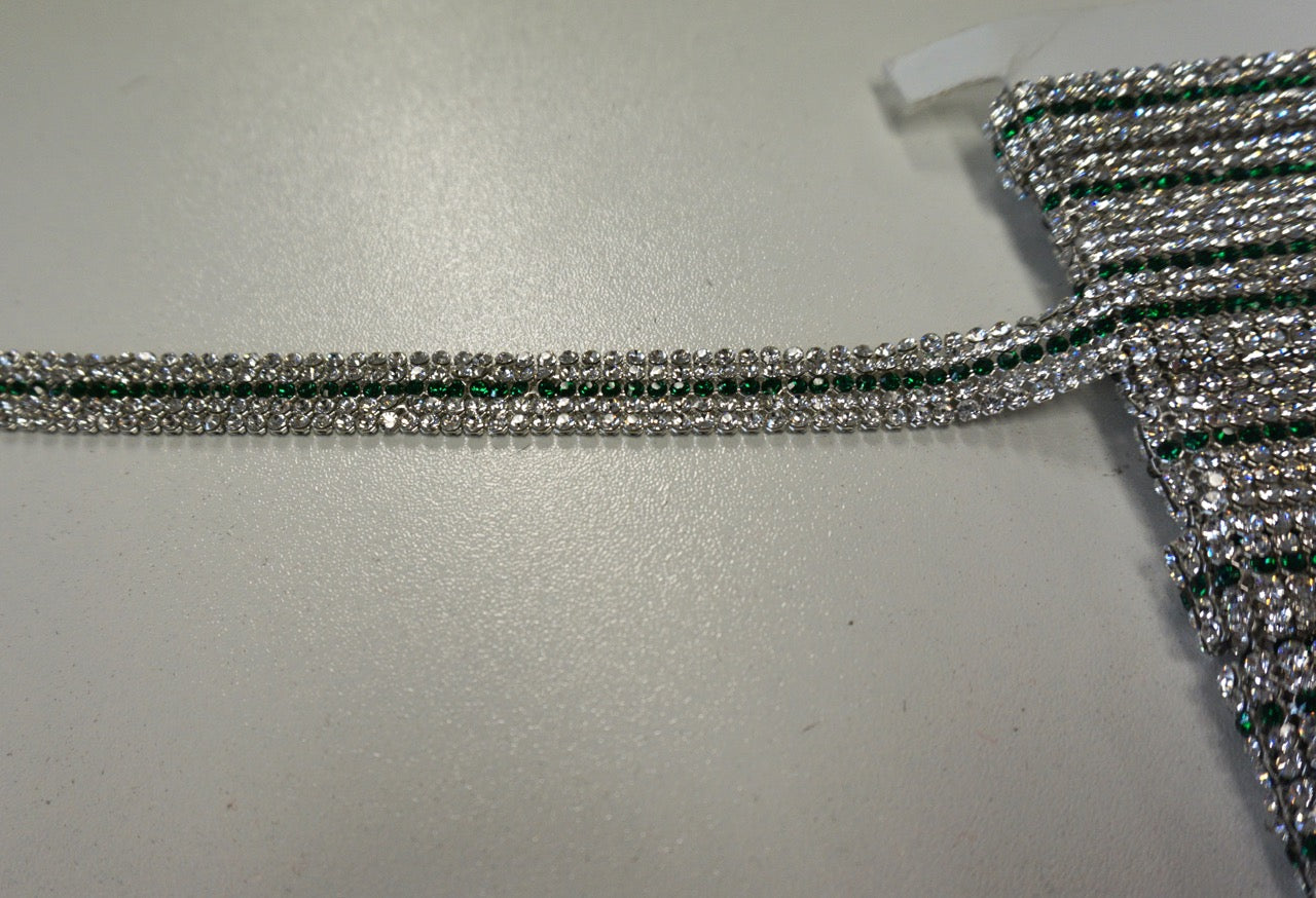 Five Row Swarovski Crystal Trim, Emerald Green Centre