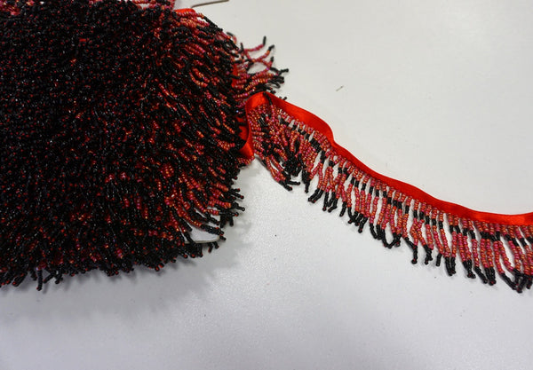 Beaded Fringe Trim in Coral Pink & Black