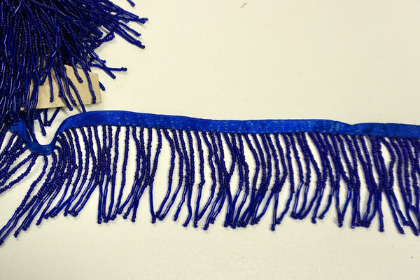 Beaded Fringe Trim in Royal Blue