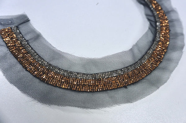 Beaded Bronze Neckline