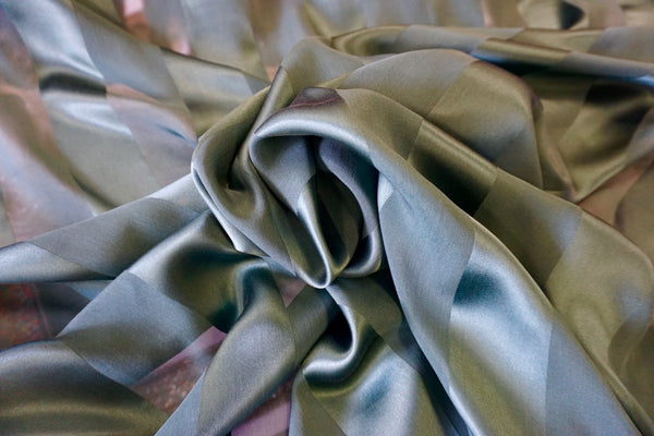 Satin Stripe Chiffon Silk, Deep Emerald Green