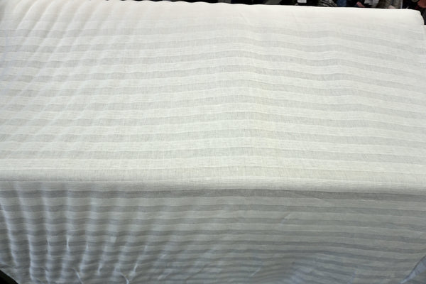 Stripe Linen Jacquard, Natural White