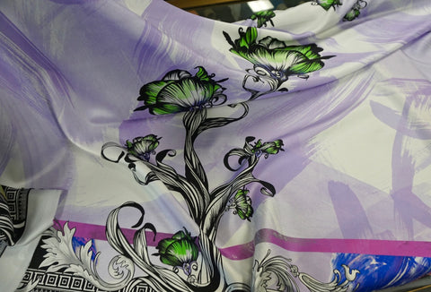 PANEL- Versace Roses are Green Print on Silk Twill