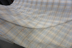 Blue & White Check Crepe Linen Blend
