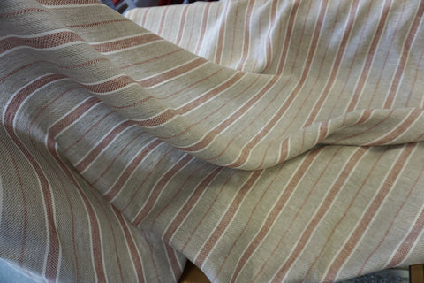 Red Stripe Twill Linen Suiting