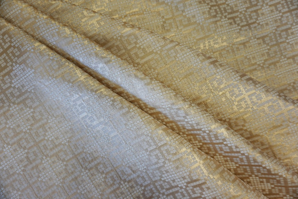 Gold Geometric Jacquard Suiting