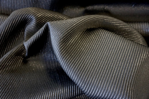 Ribbed Twill Italian Lamé Suiting, Black