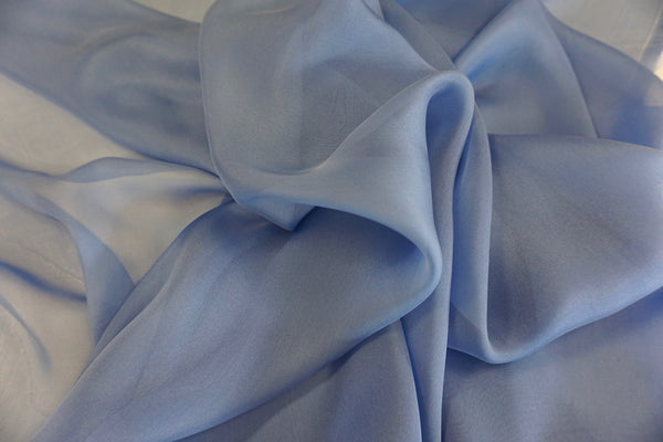 Plain Silk Chiffon, French Blue