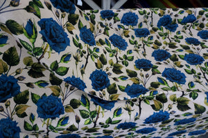 Blue Rose Print on Ivory Jacquard