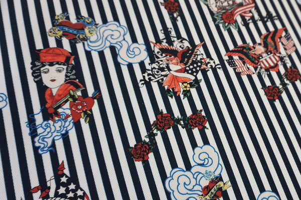 Rockabilly Stripes Print on White Denim Twill