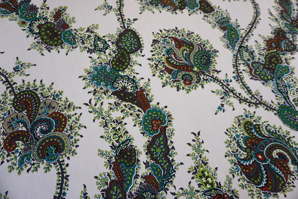 Paisley Flower Print on Stretch Drill