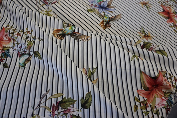 Botanical Stripe Print on Twill