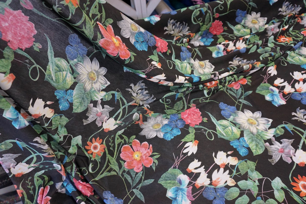 Wild Blooms Print on Light Cotton Jersey