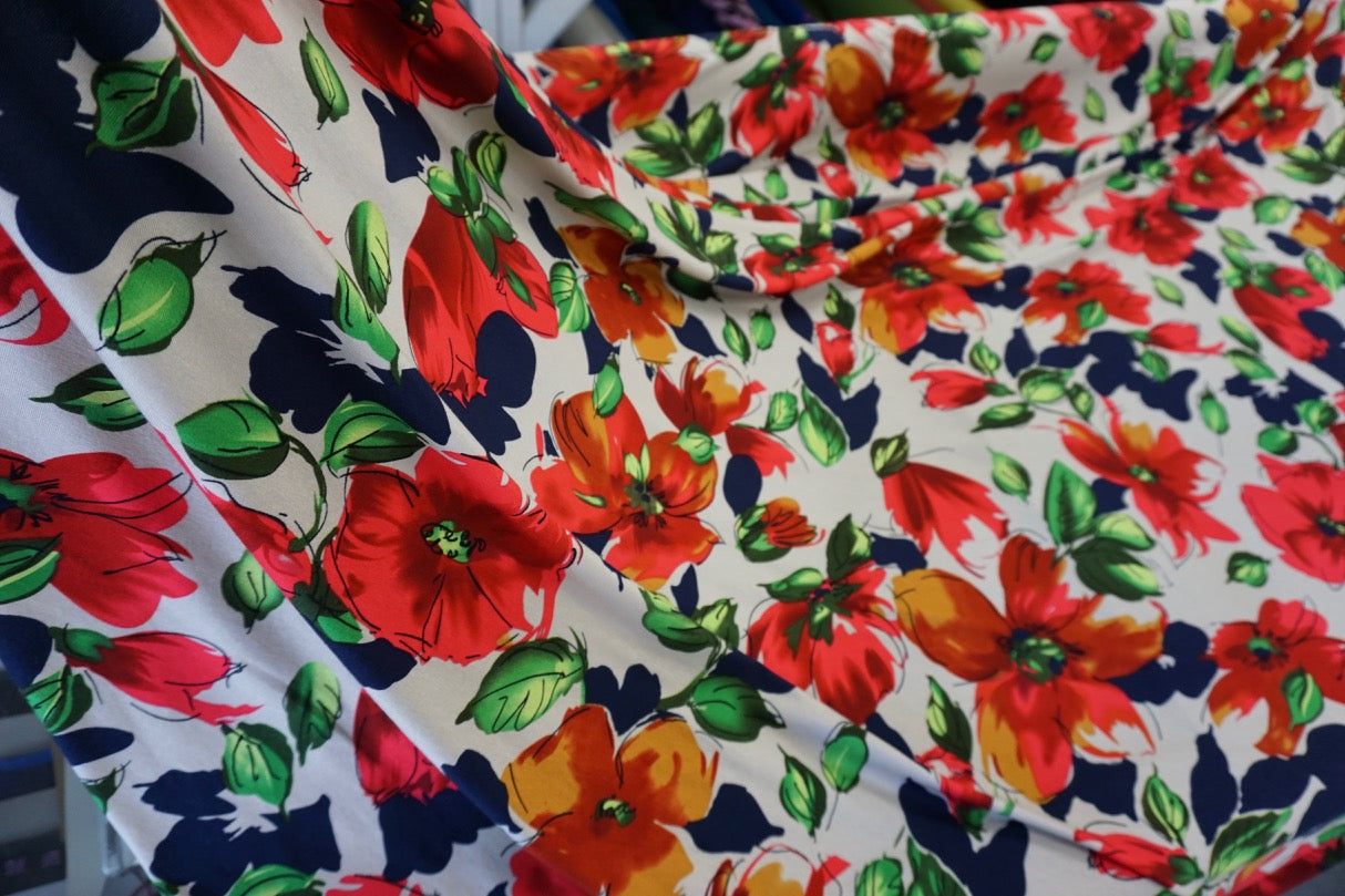 Bright Floral Sketch Print on Jersey