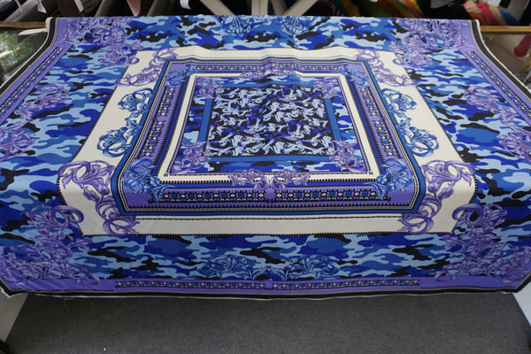 PANEL- Versace Blue Camo Print on Silk Twill
