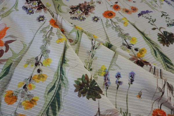 Botanicals in Watercolour Print on Ottoman Jacquard
