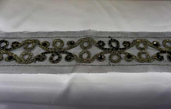 Embroidered & Beaded Black Tulle Trim