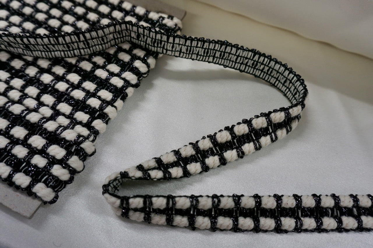 Black & Ecru Cotton Cord Braid Trim