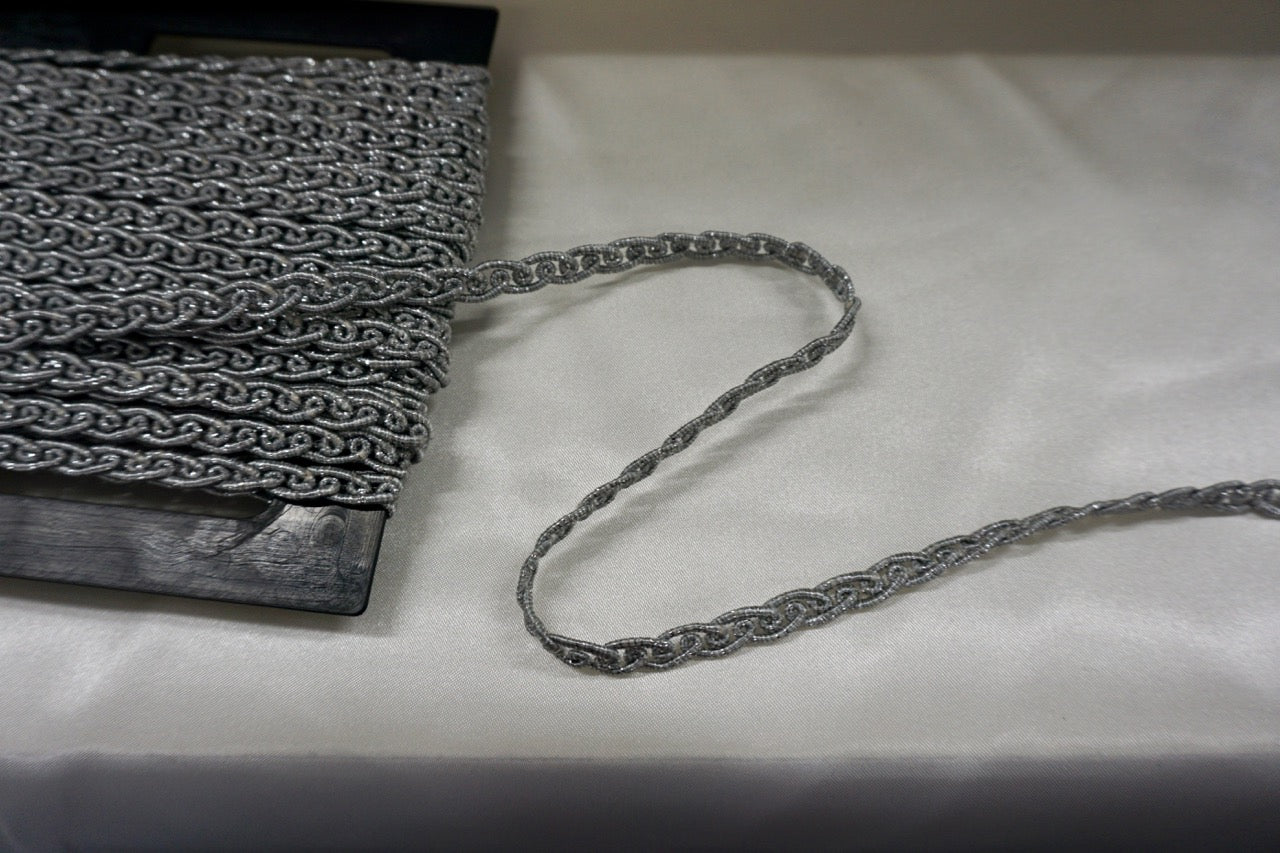 Silver Lurex Corded Braid Trim