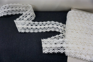 Corded Snowflake Lace Trim, Ivory