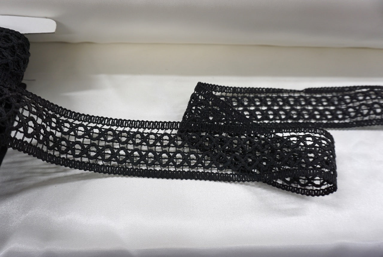 Cotton Macrame Lattice Trim, Black