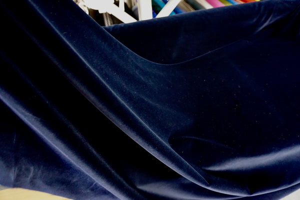 Navy Stretch Cotton Velvet