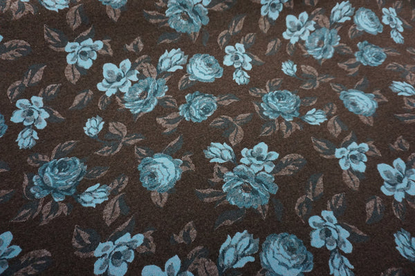 Blue Rose Wool Blend Jacquard