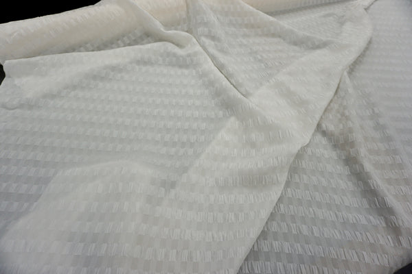Ivory Seersucker Stripe Silk
