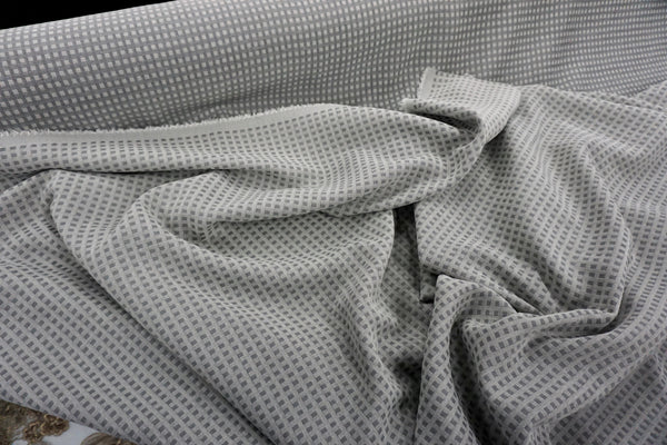 Reversible Check Dobby Suiting, Two Greys