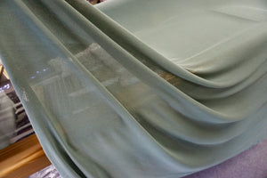 Semi Sheer Cotton Stretch Knit, Grey Green