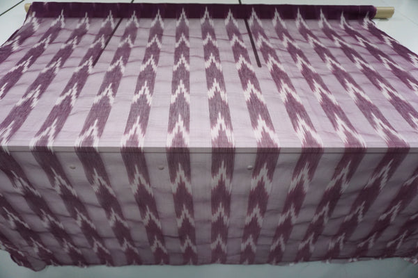 Ikat Stripe Gauze Organza, Purple