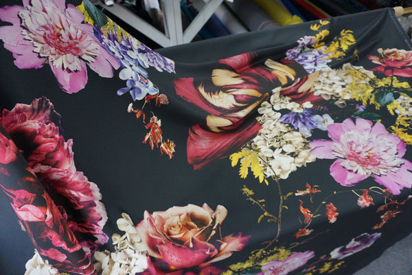 PANEL- Midnight Bouquet print on Heavy Silk Twill