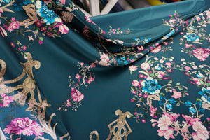 PANEL- Gilded Garden Silk Satin, Deep Teal