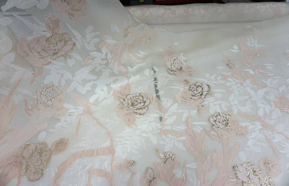 PANEL- Silk Blend Coupè Jacquard Organza, Blush Pink