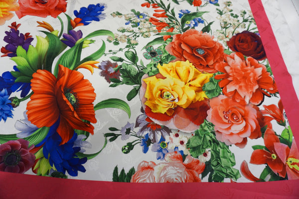 PANEL- Spring Bouquet Print, Satin Back Silk Jacquard