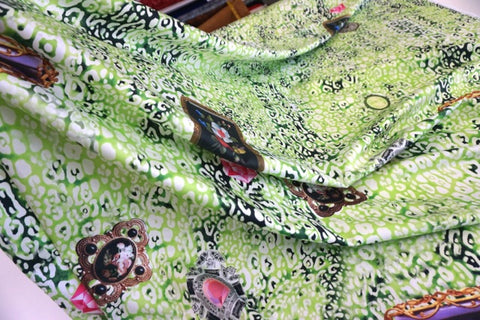 Green Leopard Dream Print on Stretch Sateen