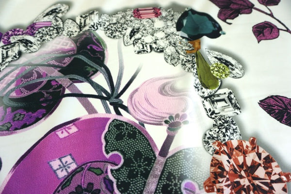PANEL- Jewels and Purple Leaves Collage on Stretch Sateen