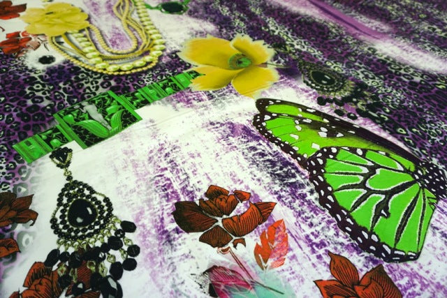 Green Butterfly Collage Print on Sateen