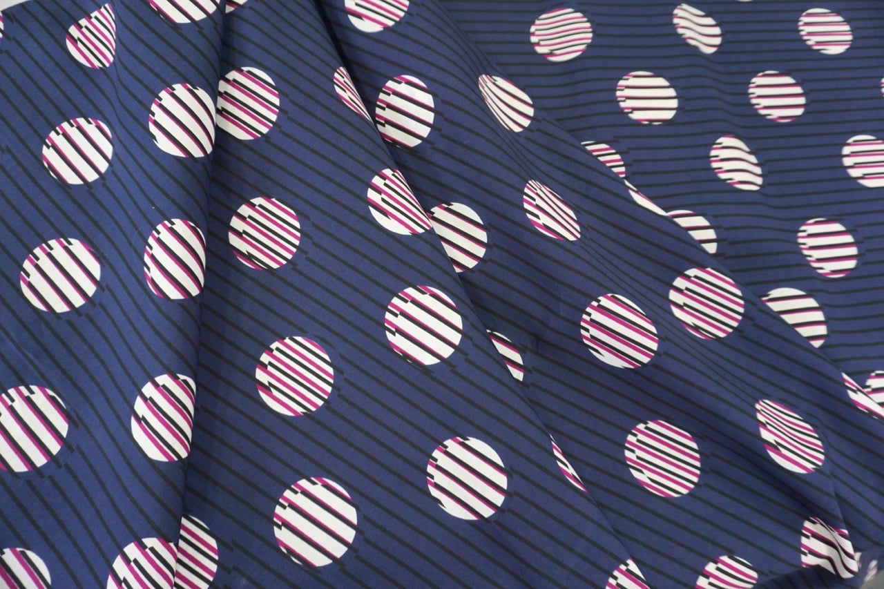 Stripe & Spot Print on Cotton Poplin