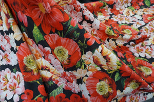 LAST PIECE: 1.6mt Poppy Bouquet Print on Soft Poplin Sateen