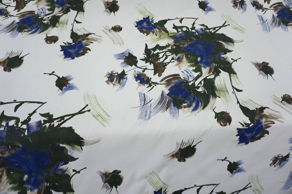 Brushed Blue Roses Print on Stretch Ottoman