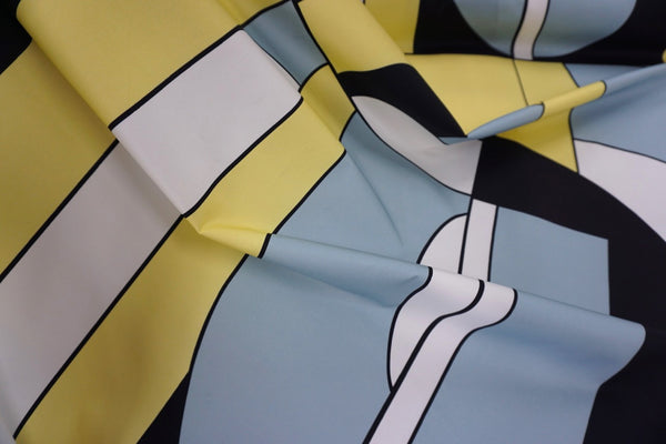 LAST PIECE: 1.55mt Retro Frames Print Stretch Sateen