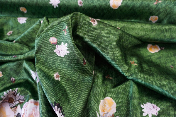 PANEL- Spring in Bloom Print on Stretch Satin