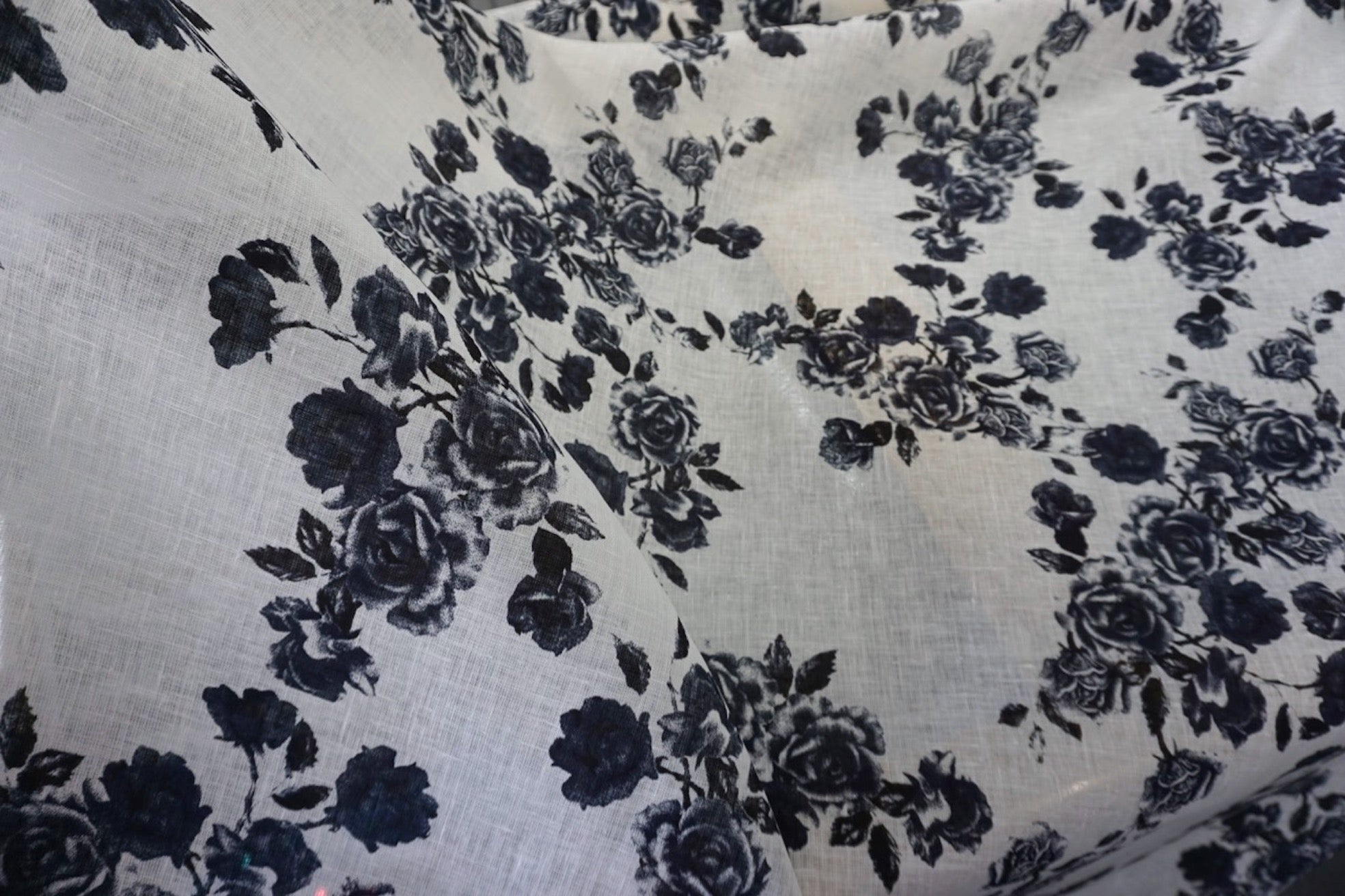 French Navy Rose Print on White Linen