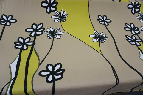 PANEL- My Daisy Sketch Print on Stretch Sateen