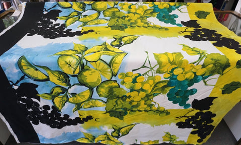 Vines & Limes Print on Stretch Sateen