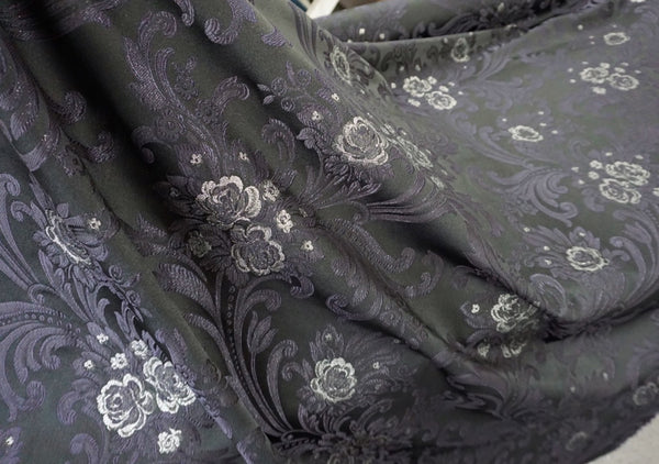 Italian Jacquard Suiting, Black, Navy & Silver