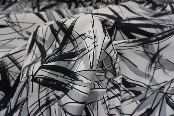 Abstract Monochrome Print on Stretch Sateen