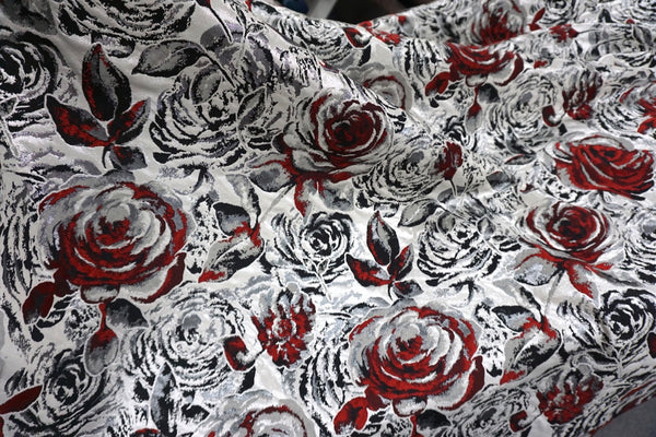 Romeo's Roses Jacquard Suiting
